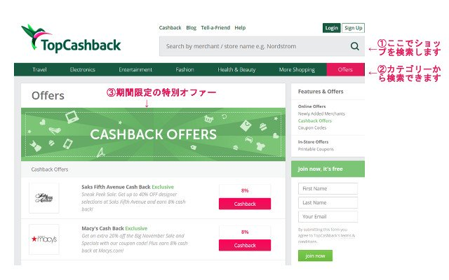 TopCashback検索方法