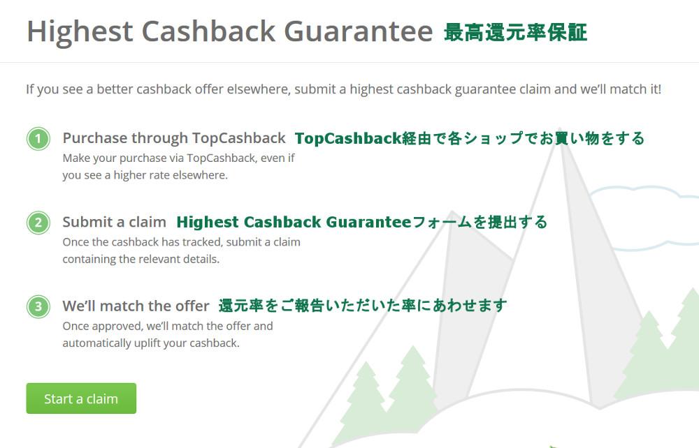 Highest Cashback Guarantee(最高還元率保証)